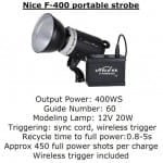Essential Studio Equipment : Nice F-400 Portable Strobe