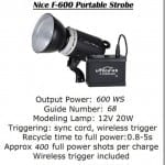 Essential Studio Equipment : Nice F-600 Portable Strobe