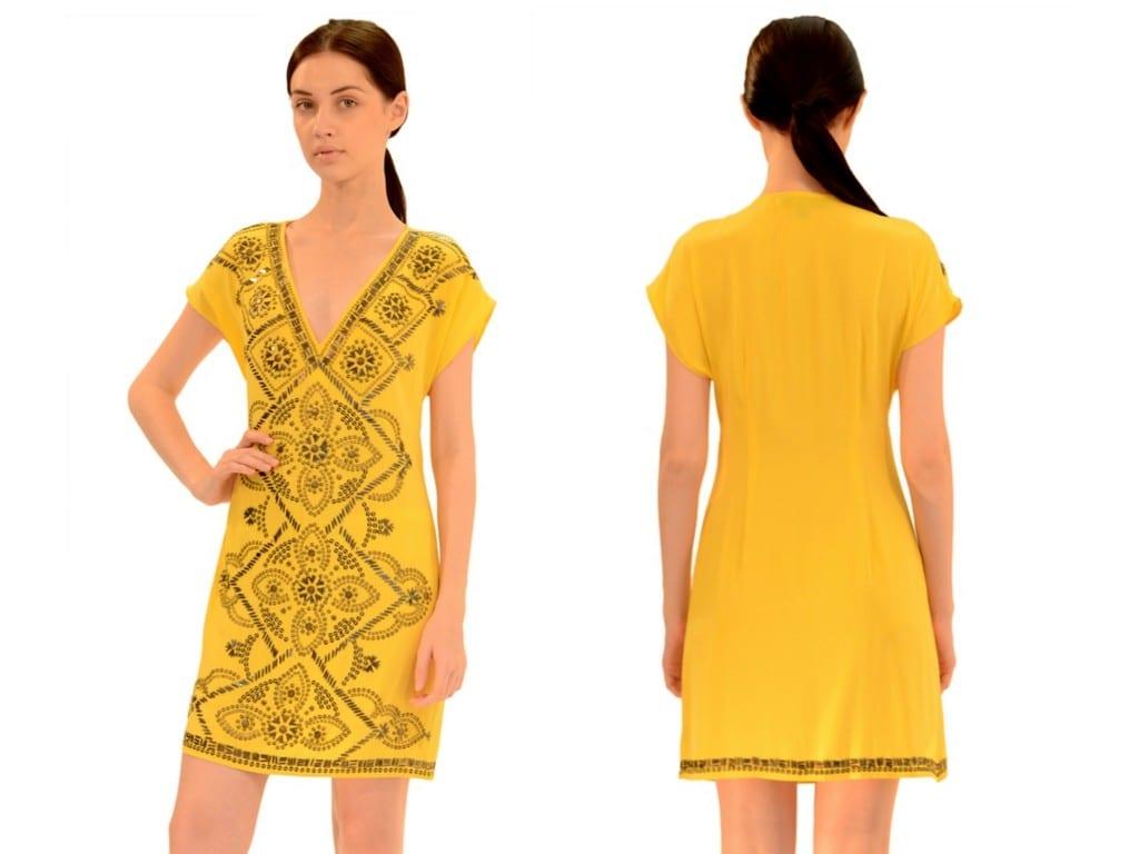 yellow-beaded-silk-stretch-dress