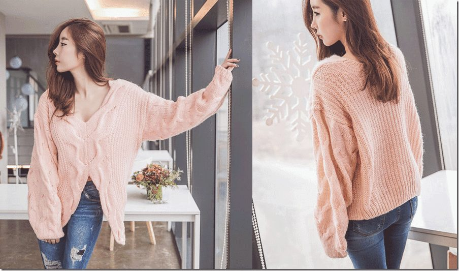 dusty-pink-cable-knit-sweater