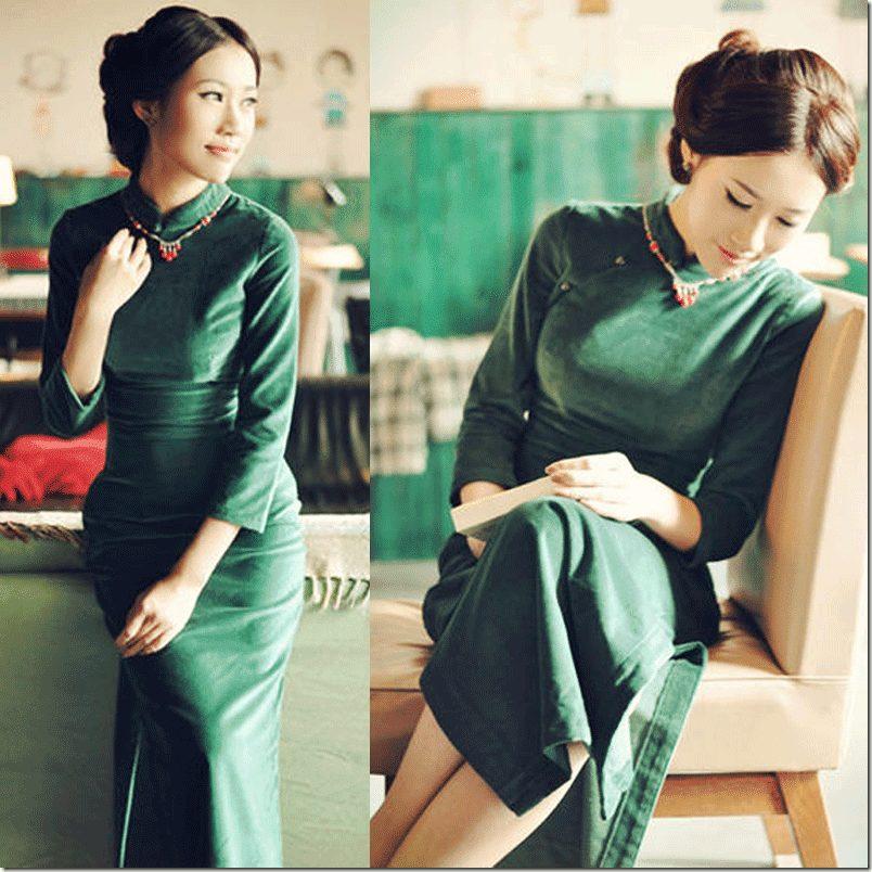 green-cheongsam