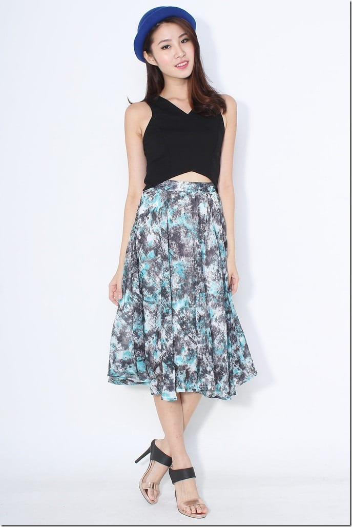green-grey-midi-skirt