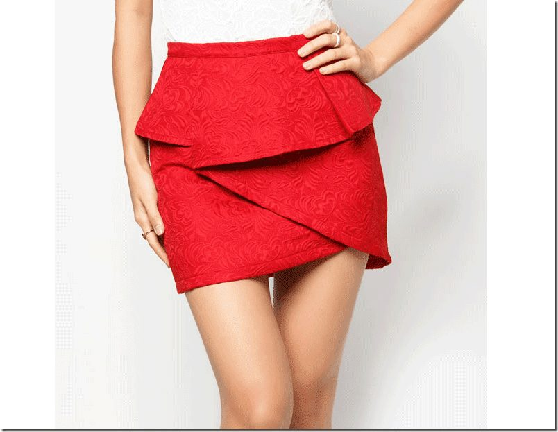 red-textured-origami-skirt