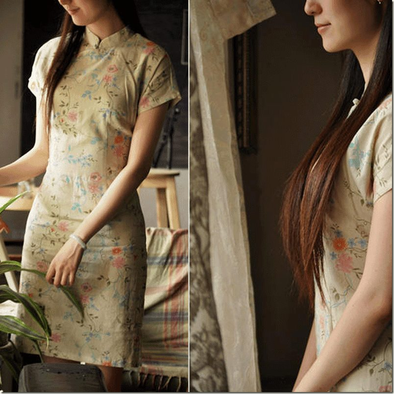 short-sleeve-floral-cheongsam-beige2