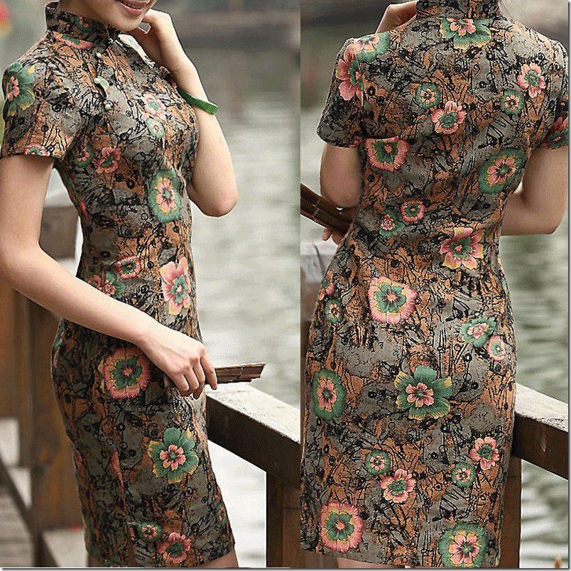 short-sleeve-floral-cheongsam-multicolor