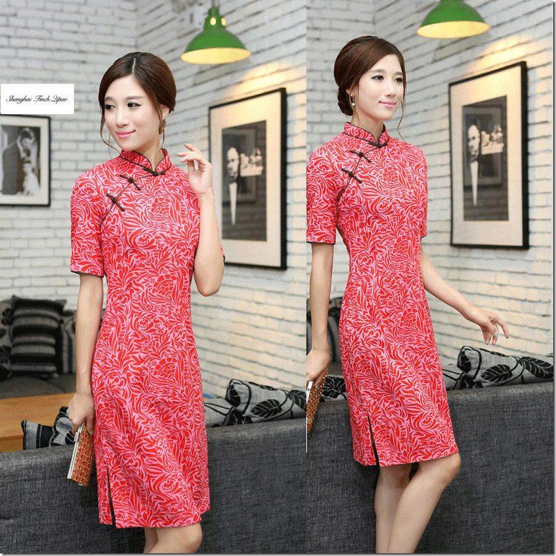 short-sleeve-printed-cheongsam