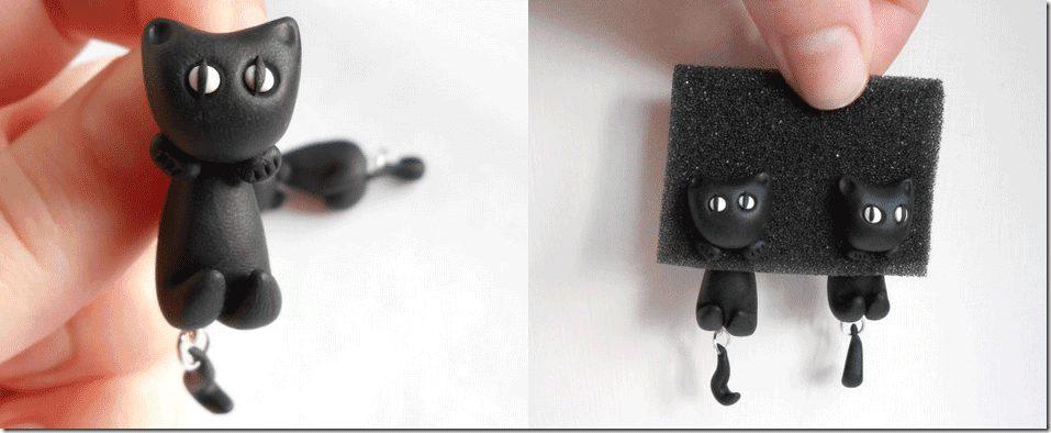 black-cat-clinging-earrings