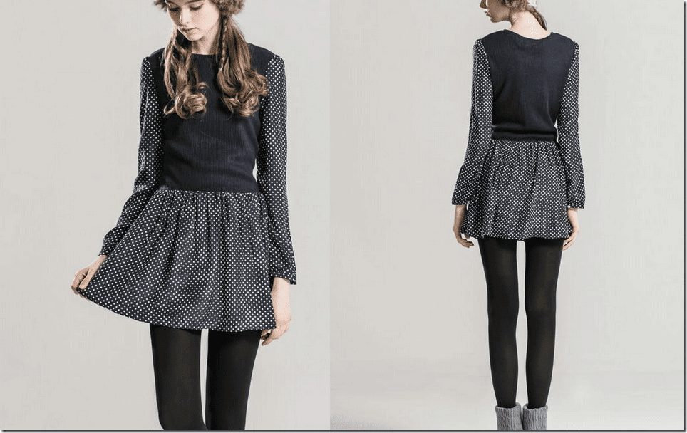 contrast-polka-dots-knit-dress