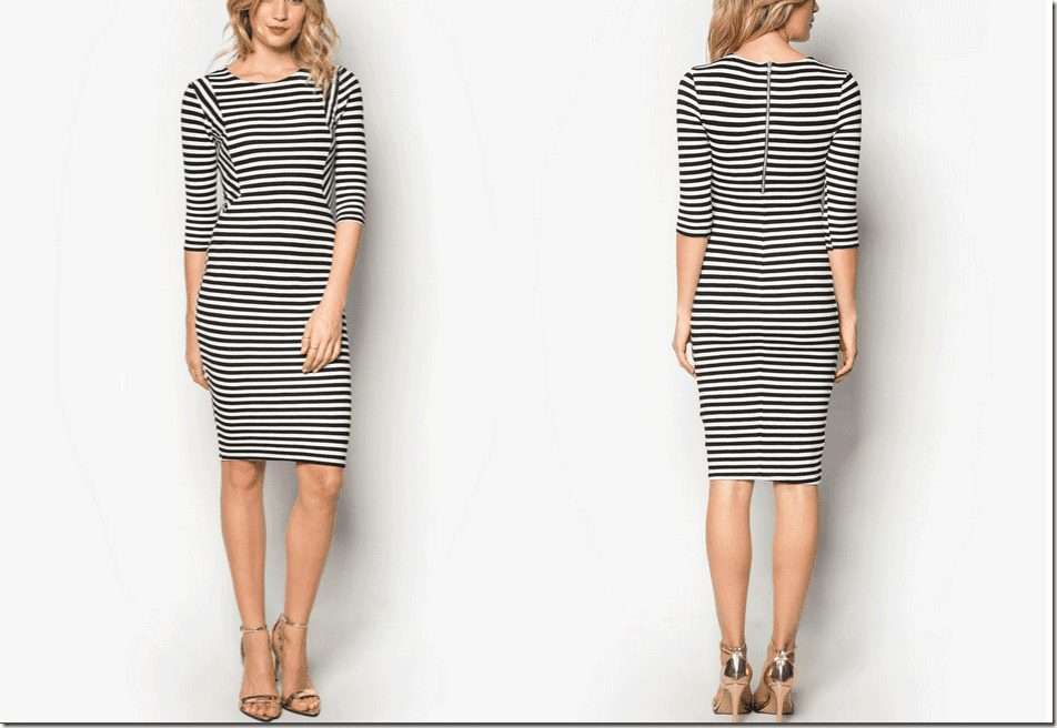 long-sleeve-striped-bodycon-dress