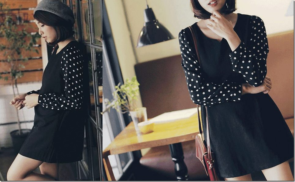 polka-dot-sleeve-panel-dress