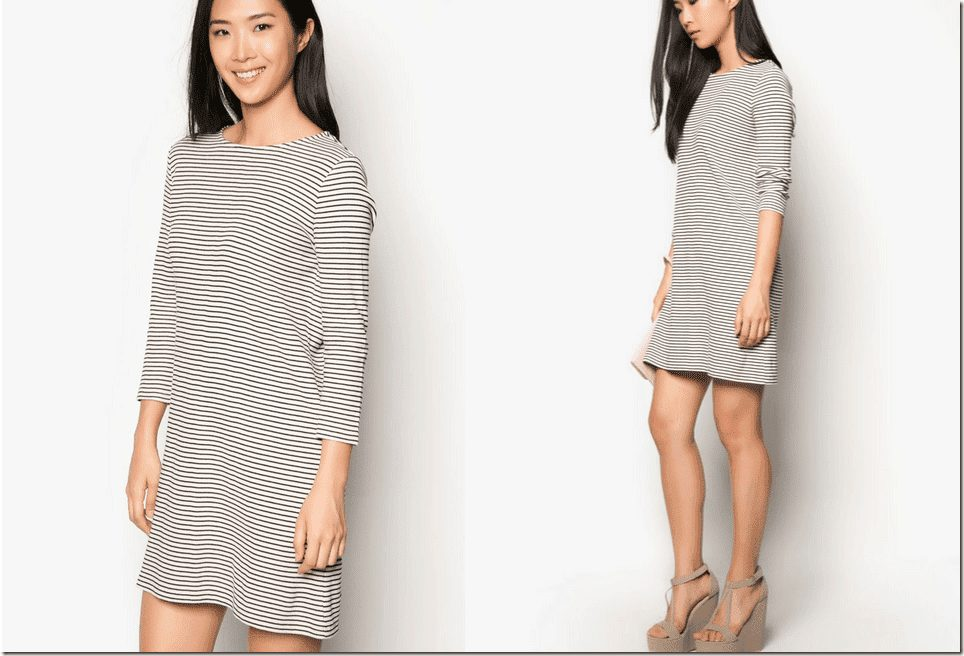 three-quarter-sleeve-striped-dress
