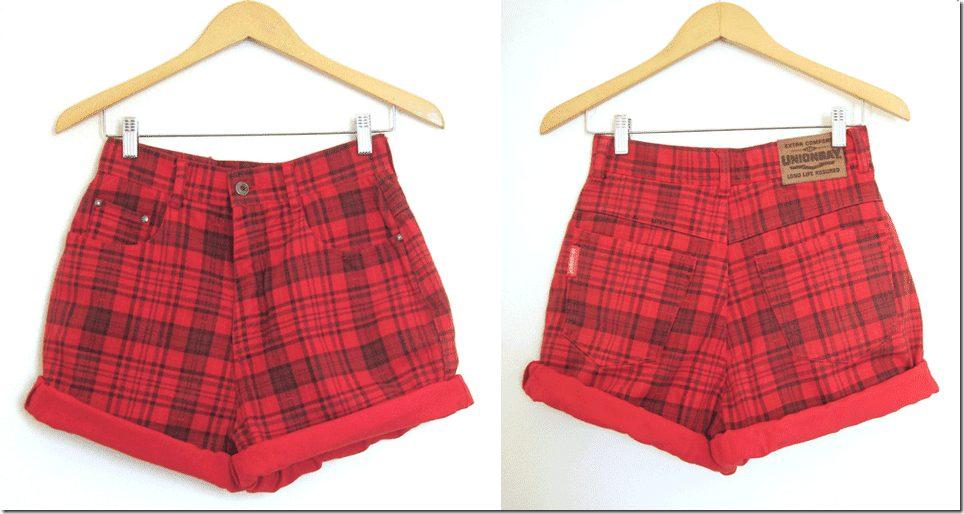 90s-red-tartan-high-waist-shorts