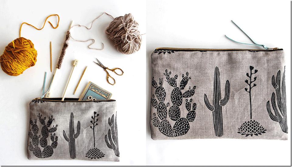 black-cactus-zipper-pouch