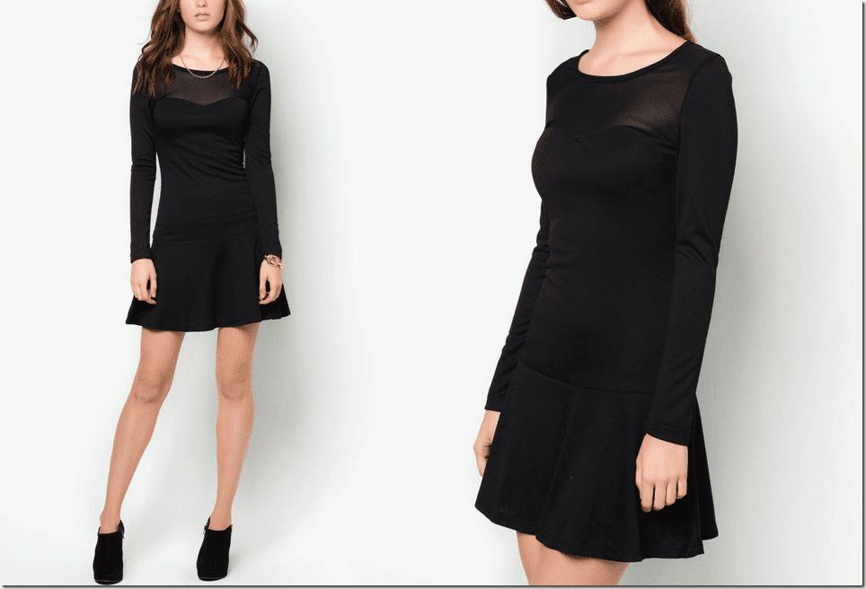 black-long-sleeved-fluted-hem-drop-waist-dress
