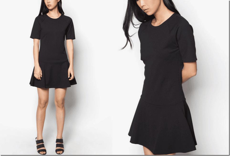 black-short-sleeved-drop-waist-dress