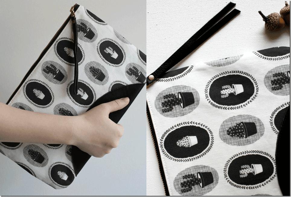 black-white-cactus-zipper-clutch