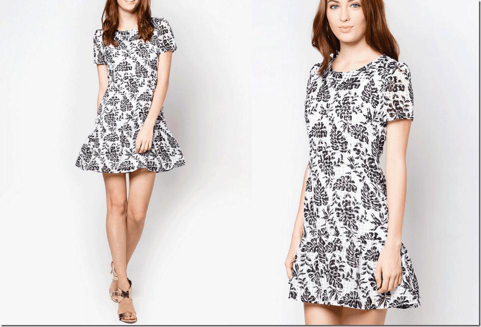 black-white-floral-mesh-drop-waist-dress