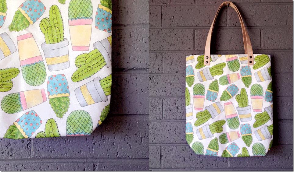 cactus-print-linen-canvas-tote-bag