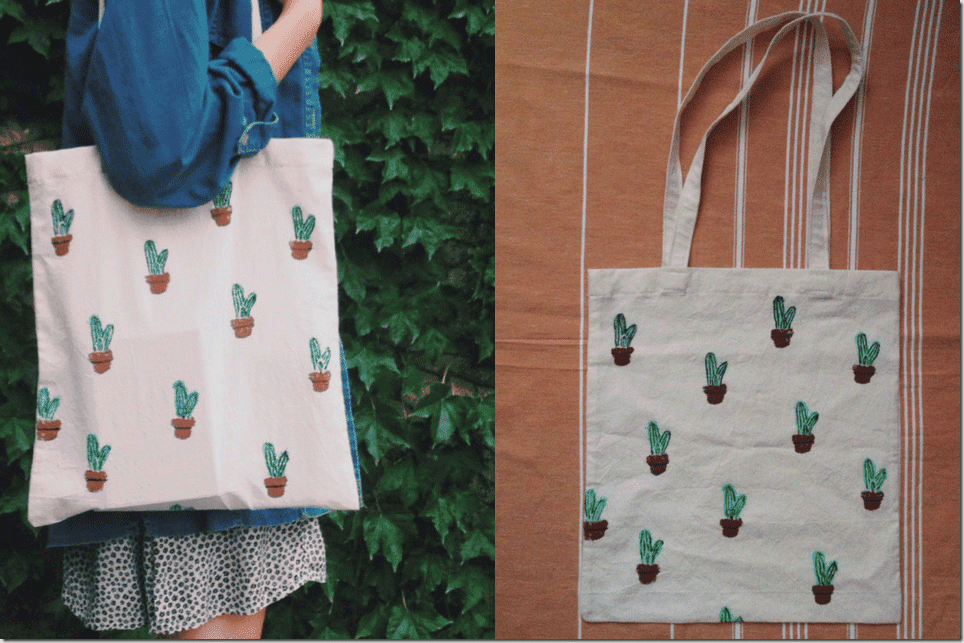 minimal-cactus-patterned-canvas-tote
