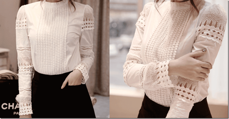 White Lace Long Sleeve Blouse Photo Album - Reikian