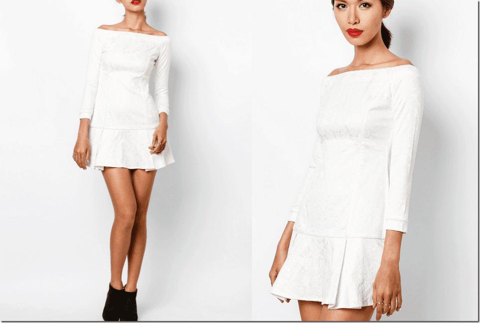 white-jacquard-long-sleeved-drop-waist-dress