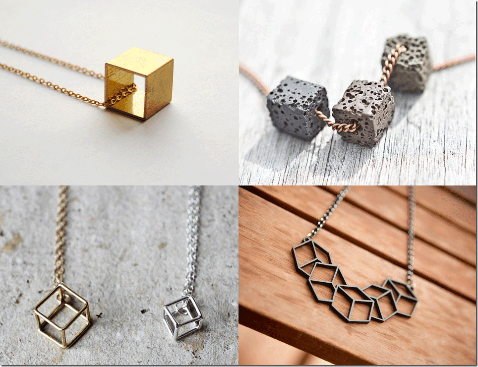 Geometric Cube Necklace Fashion Inspiration