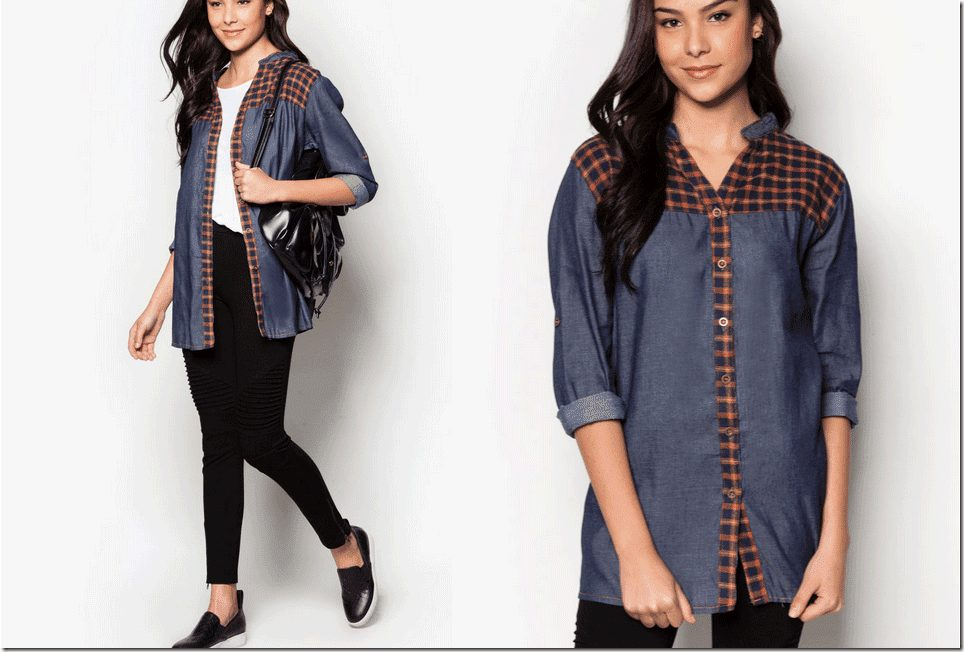 dark-blue-denim-plaid-blouse