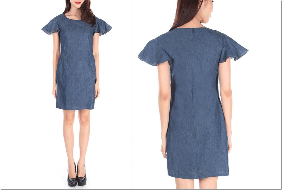 fluttered-sleeve-denim-dress