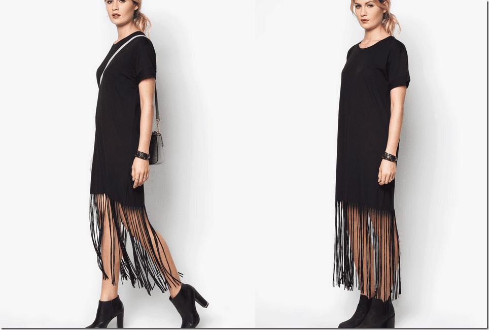 fringe-hem-black-casual-dress