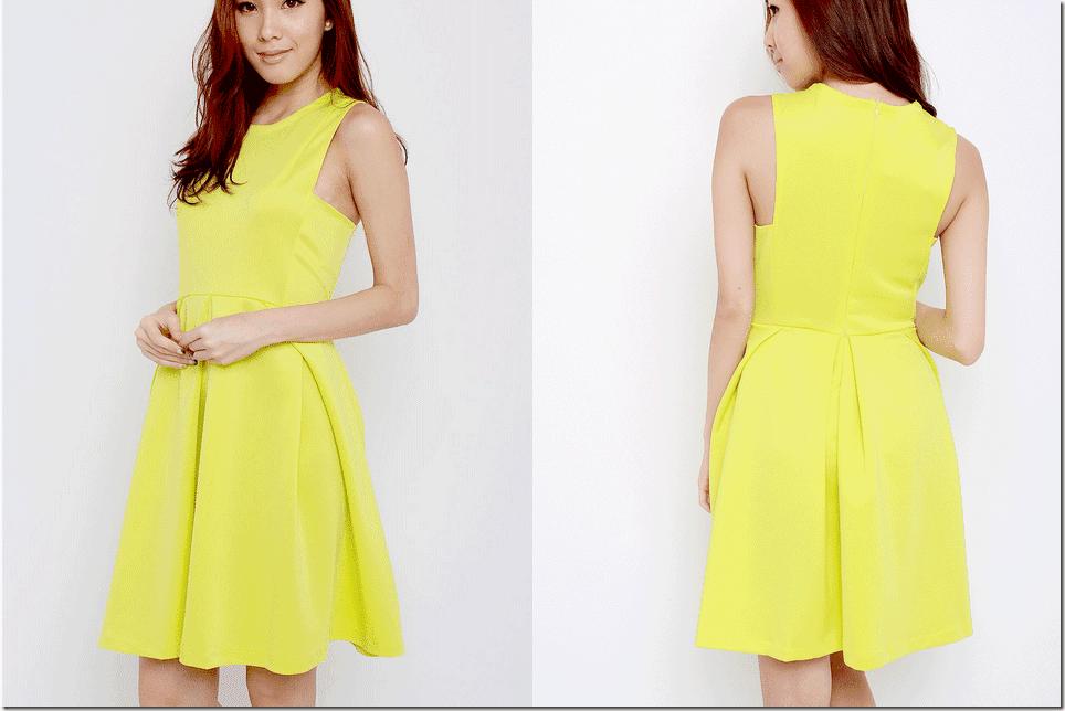 neoprene-yellow-flared-dress
