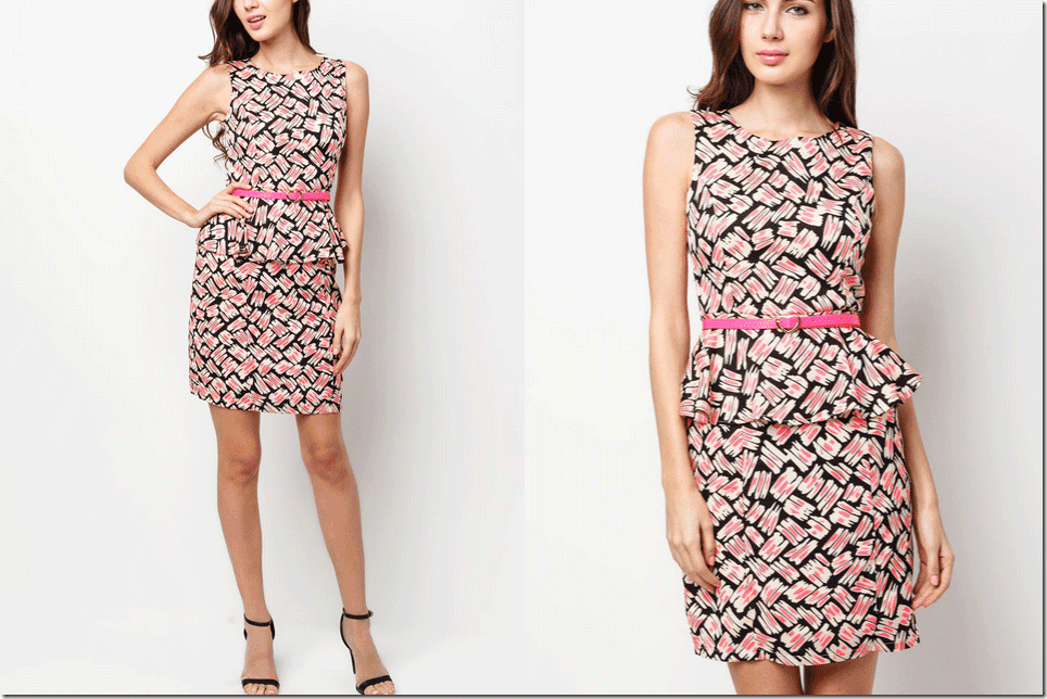 patterned-sleeveless-peplum-dress