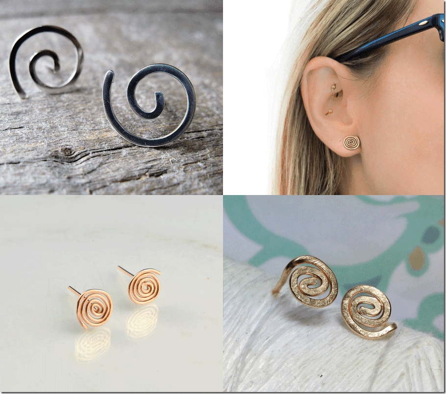 Spiral Stud Earrings Fashion Inspiration