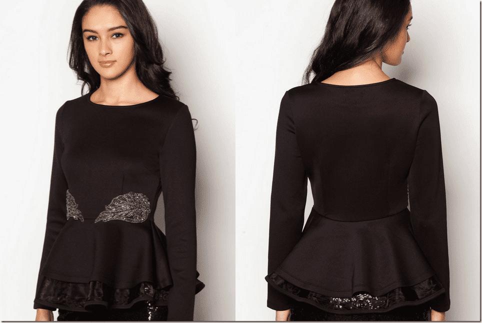 black-embellished-double-peplum-top