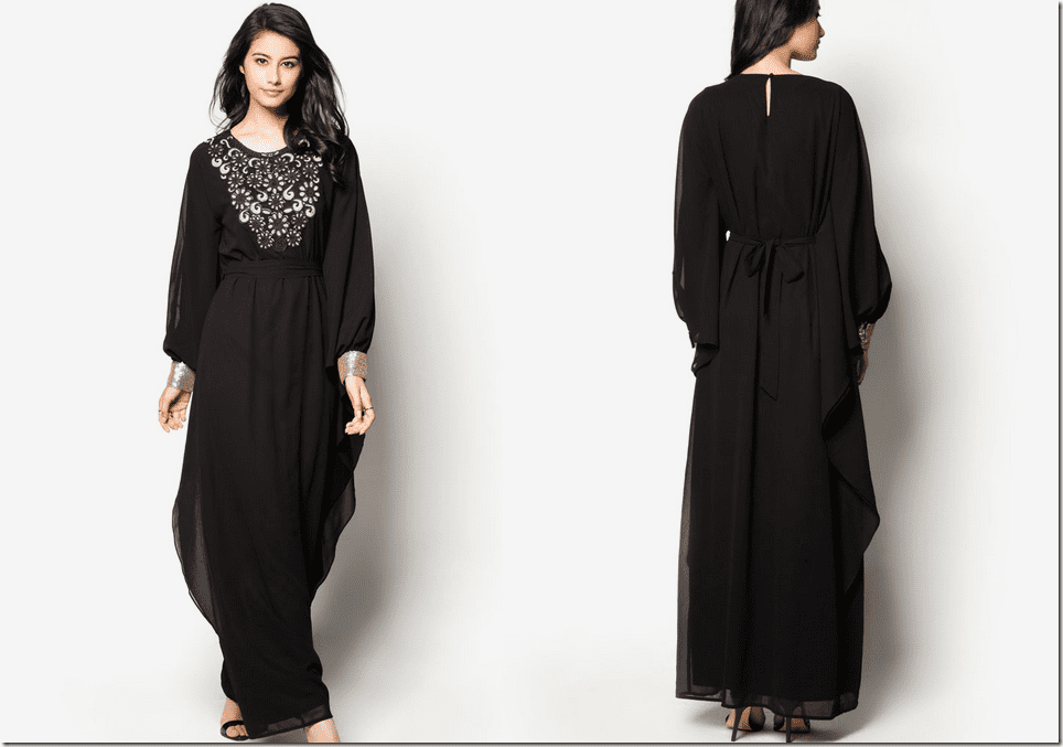 black-kaftan-dress-floral-applique
