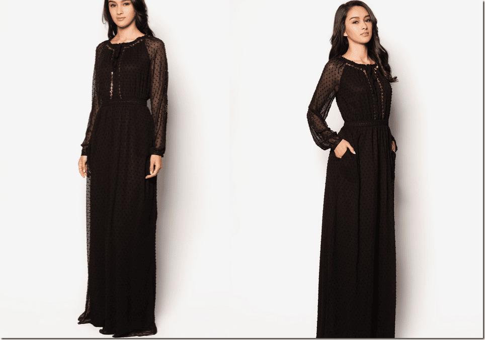 black-sequined-peasant-maxi-dress