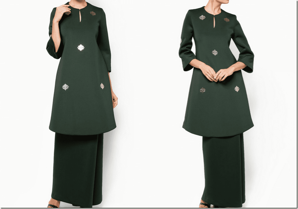 forest-green-neoprene-baju-kurung-gold