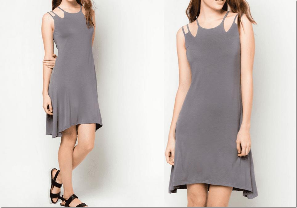 grey-shoulder-cutout-dress