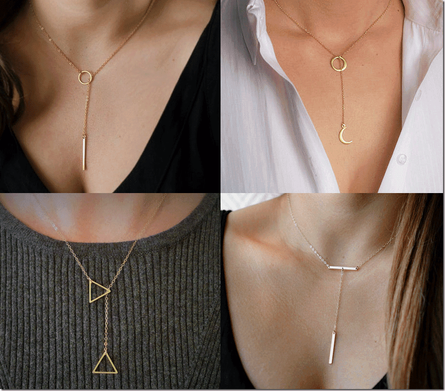 7 Minimalist Gold Lariat Necklace Jewelry Fashion Inspiration
