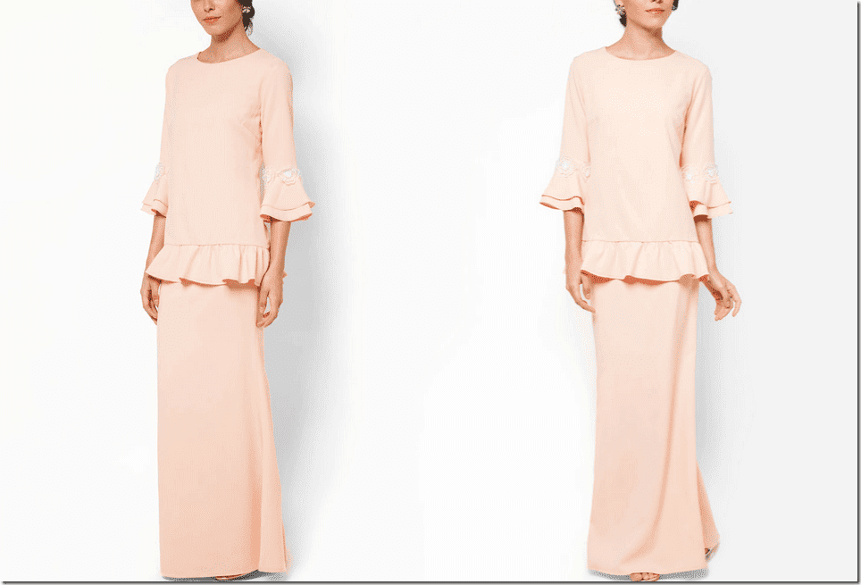 peach-baju-kurung-flounce-sleeve