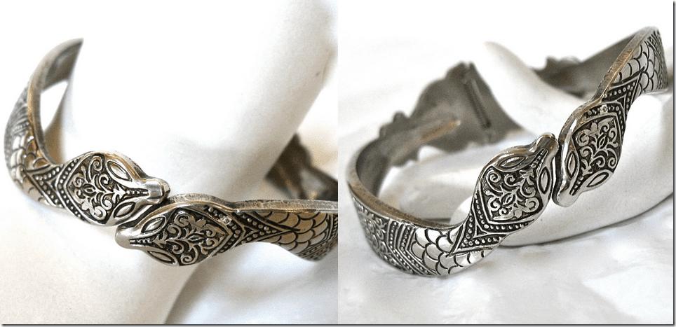 vintage-embossed-silver-snake-clamp-bracelet