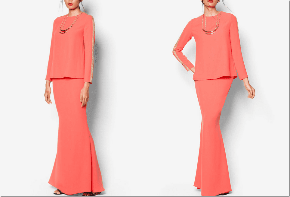 art-deco-coral-pink-baju-kurung-gold-necklace