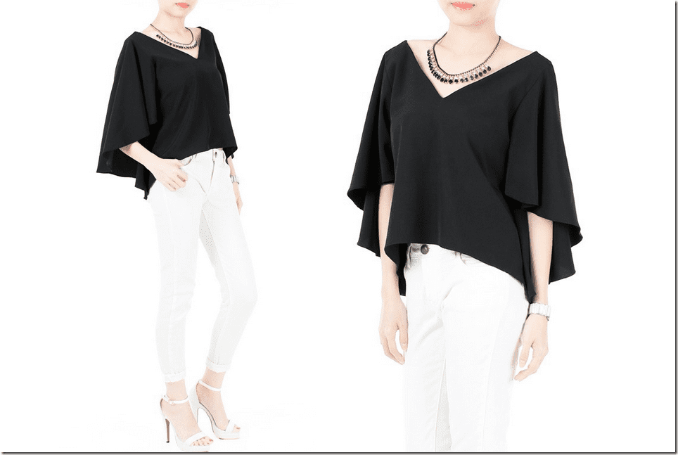 billowy-butterfly-sleeve-black-blouse