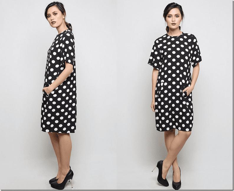 black-polka-dot-loose-dress