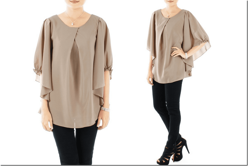 flutter-loose-sleeve-cross-pleat-blouse
