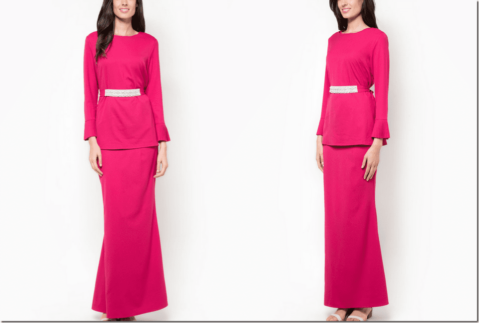 fuchsia-pink-baju-kurung-pleated-sleeve
