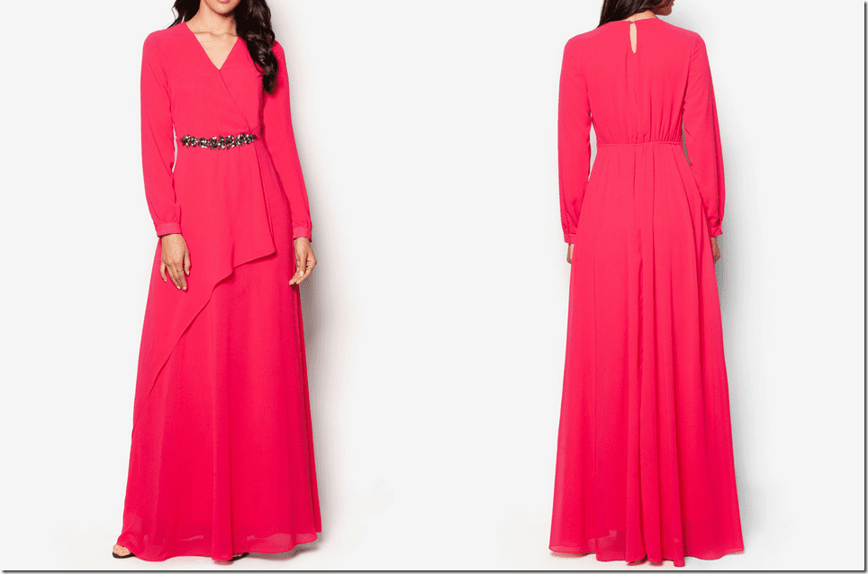 fuchsia-pink-embellished-chiffon-dress