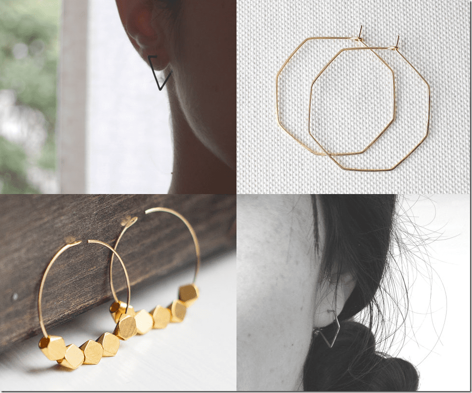10 Geometric Hoop Earrings Jewelry Fashion Inspiration