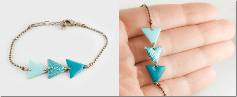 ombre-mint-turquoise-triangle-bracelet