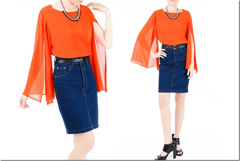 persimmon-orange-long-sleeve-cape-blouse