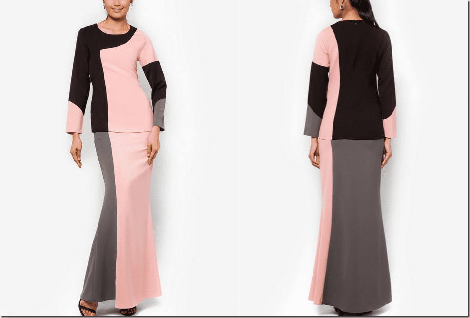 pink-colorblock-baju-kurung